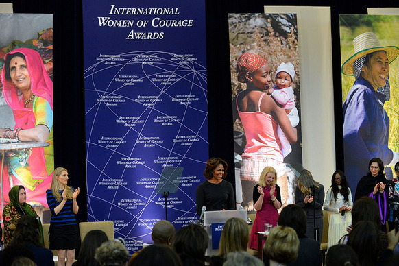 First Lady Michelle Obama honors extraordinary women from 10 countries with the 2014 Secretary of State's International Women of Courage Award at the U.S. Department of State in Washington, D.C., on March 4, 2014. [State Department photo/ Public Domain]