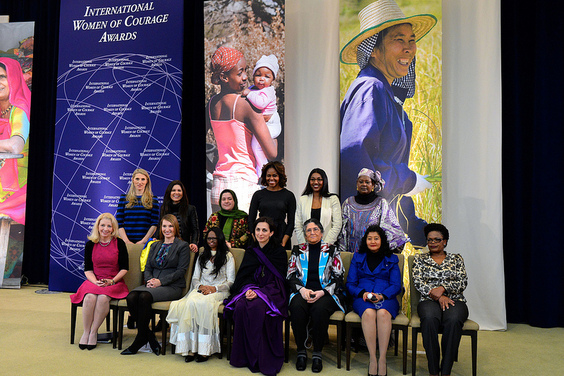 First Lady Michelle Obama and Deputy Secretary Higginbottom With 2014 IWOC Awardee Oinikhol Bobonazarova of Tajikistan