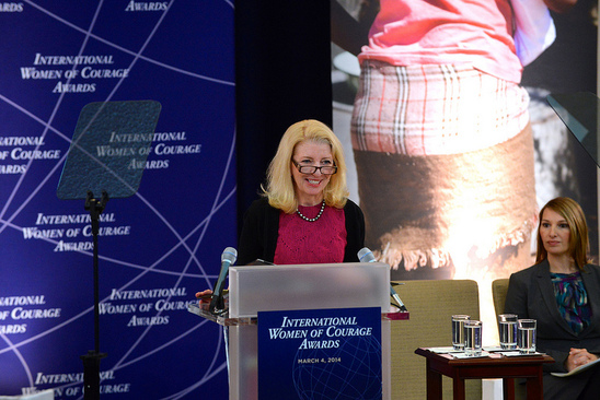U.S. Ambassador-at-Large for Global Women's Issues Catherine Russell delivers remarks at the Secretary of State's International Women of Courage Award Ceremony at the U.S. Department of State in Washington, D.C., on March 4, 2014. [State Department photo/ Public Domain]